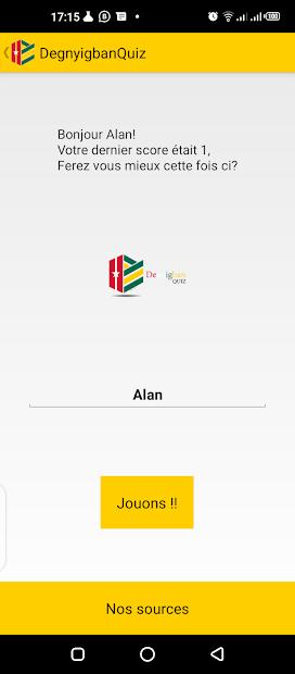 Capture d'écran de l'application DenyigbanQuizz